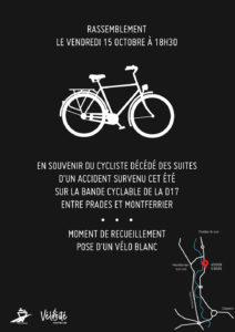 Pose d'un vélo blanc; lieu: D17